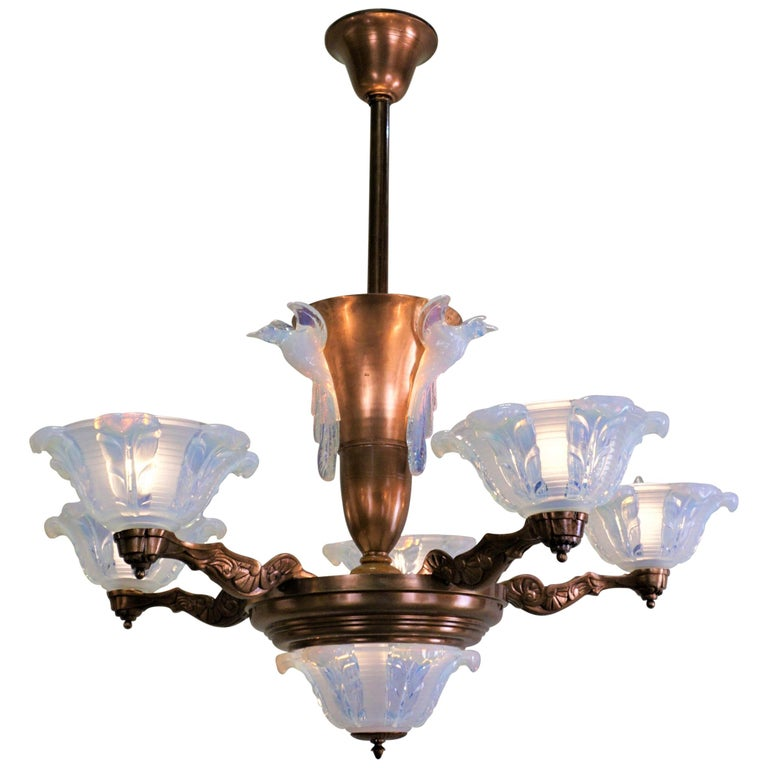 French Copper and Opalescent Glass Art Deco Chandelier by Ezan For Sale