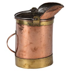 French Copper Bucket with Brass Trim, Late 1800s