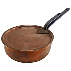 French Copper Frying Pan with Lid