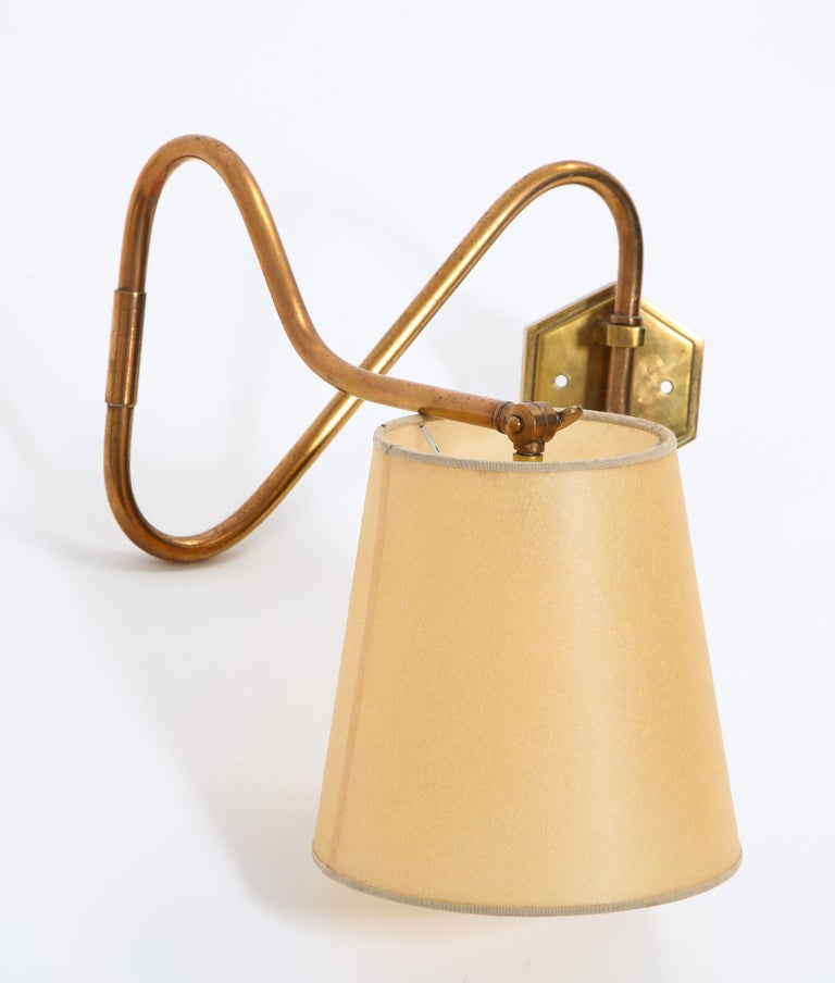 20th Century French Copper Swing Arm Brass Wall Lamp For Sale