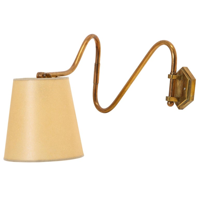 French Copper Swing Arm Brass Wall Lamp For Sale