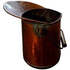 French Copper Watering Pitcher with Brass Trim