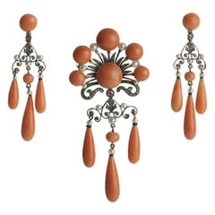 French Coral Pearl Onyx and Diamond Suite