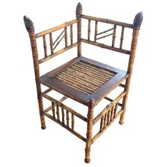 French Corner Bamboo Chair, 1940s