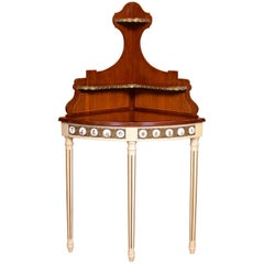 French Corner Table Painted Mahogany Brass
