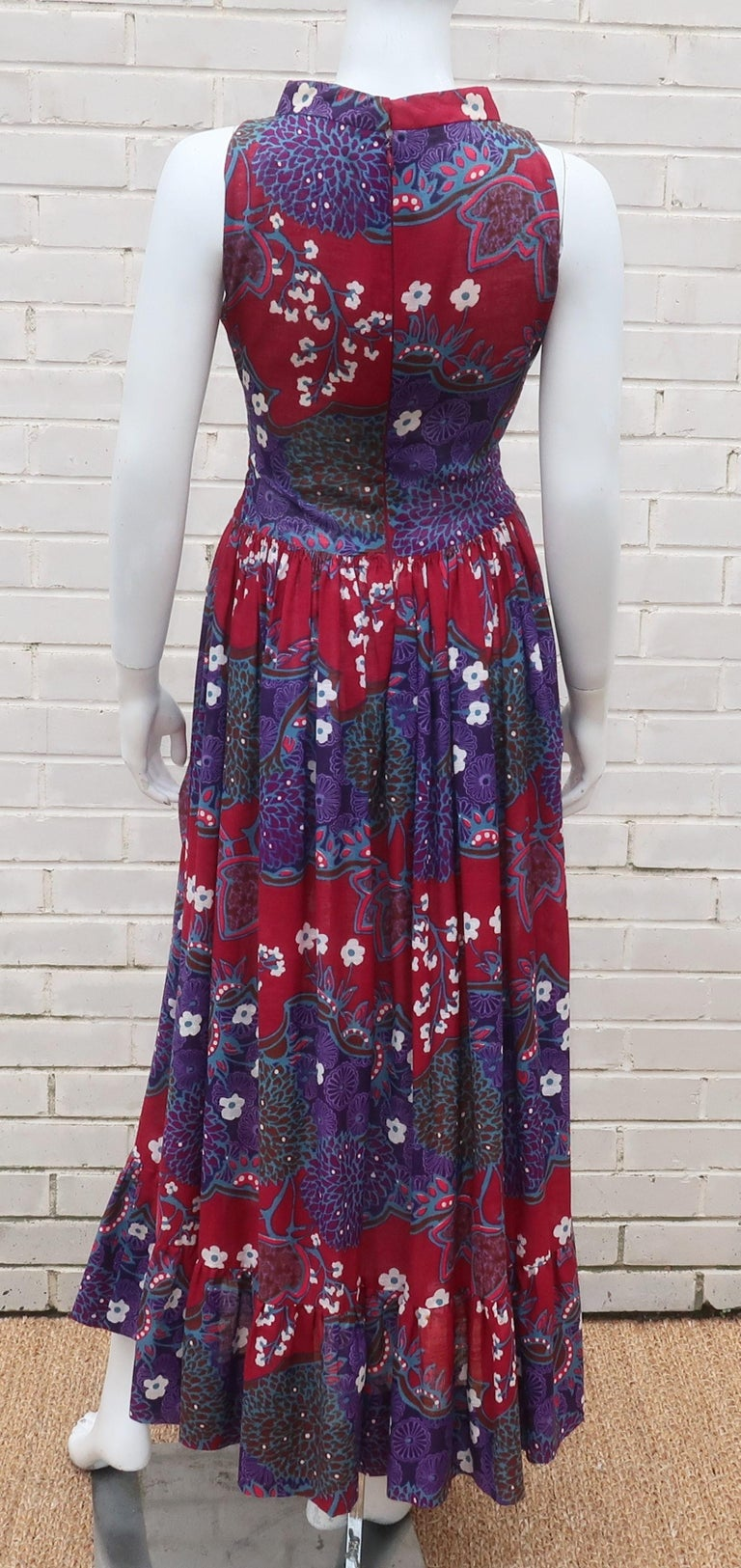 French Cotton Bohemian Floral Dress, 1970's For Sale 5