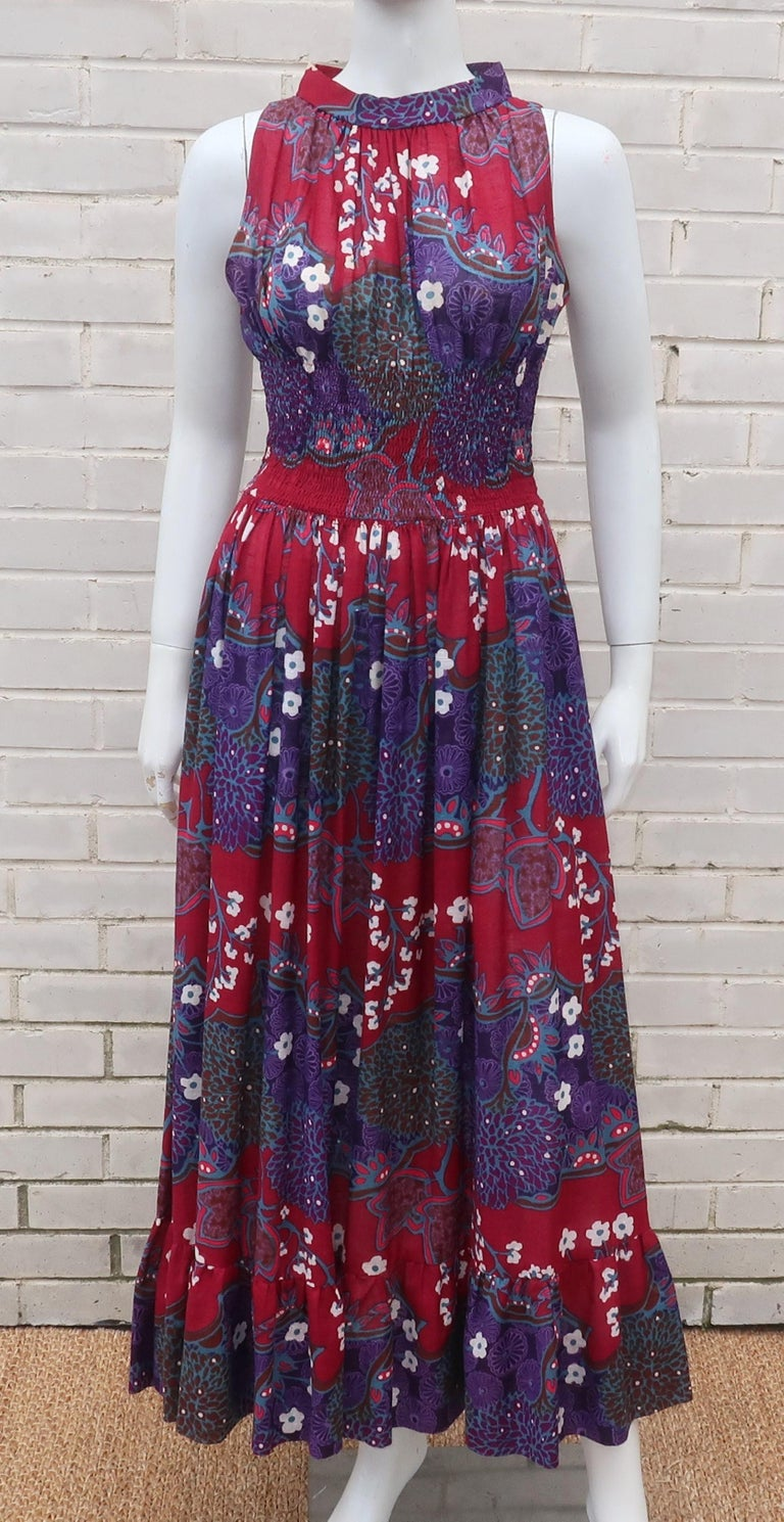 Black French Cotton Bohemian Floral Dress, 1970's For Sale