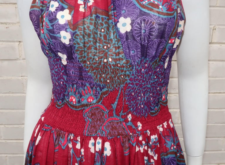 French Cotton Bohemian Floral Dress, 1970's For Sale 1