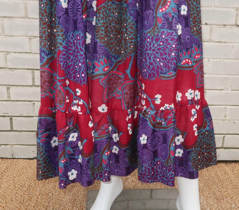 French Cotton Bohemian Floral Dress, 1970's For Sale 2