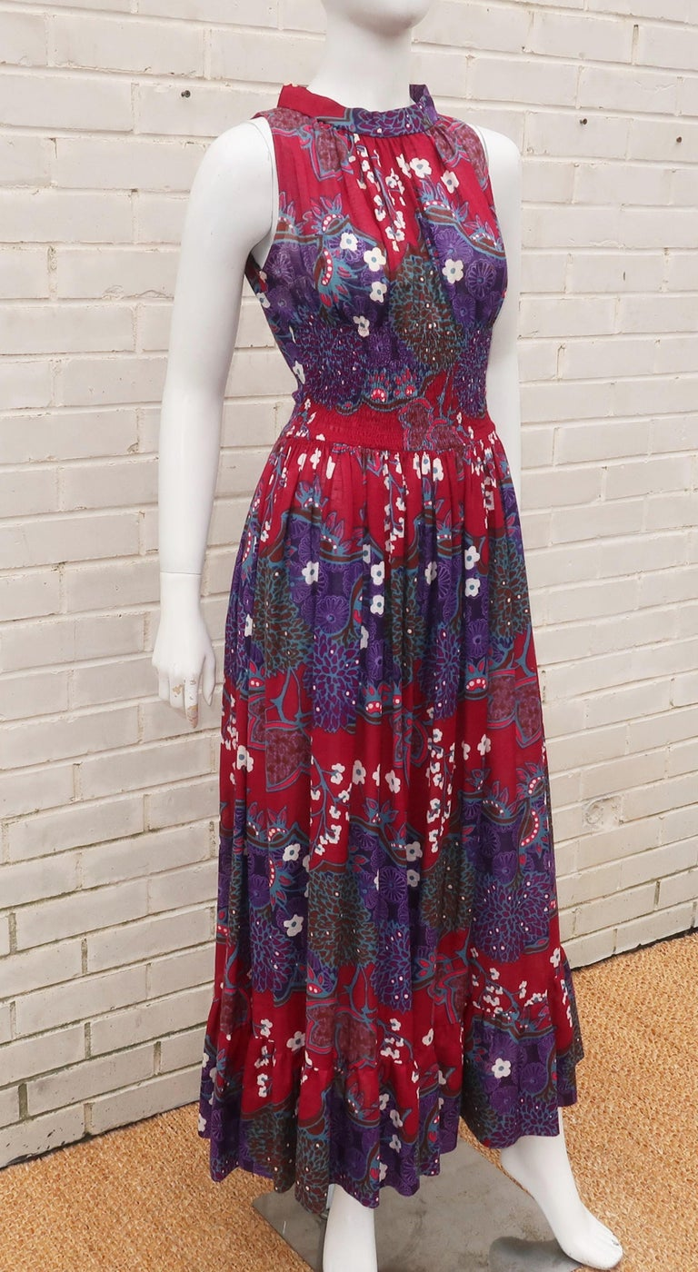 French Cotton Bohemian Floral Dress, 1970's For Sale 3