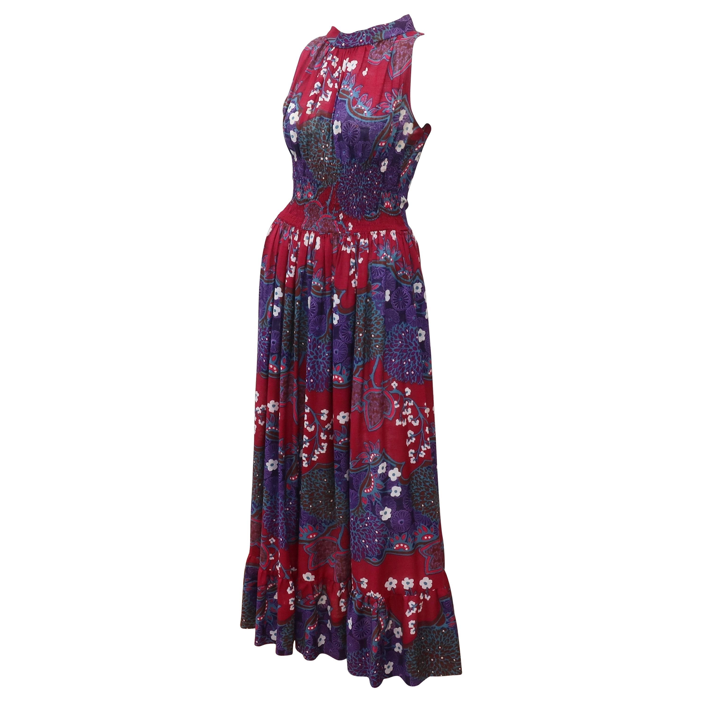 French Cotton Bohemian Floral Dress, 1970's
