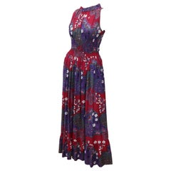 French Cotton Bohemian Floral Dress, 1970's