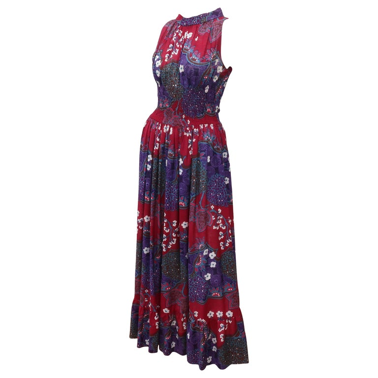 French Cotton Bohemian Floral Dress, 1970's For Sale