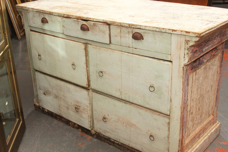 French Counter with Many Layers of Paint For Sale 4