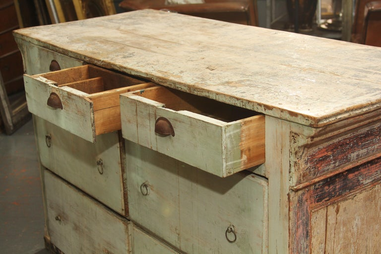 French Counter with Many Layers of Paint For Sale 5