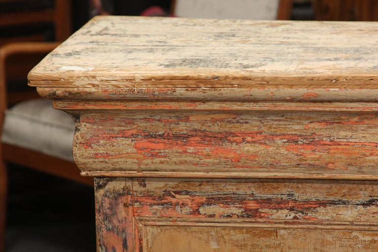 European French Counter with Many Layers of Paint For Sale