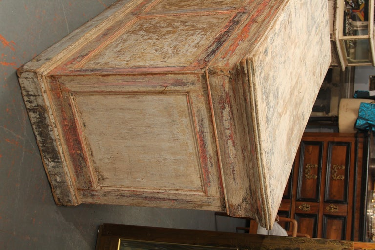 Hardwood French Counter with Many Layers of Paint For Sale