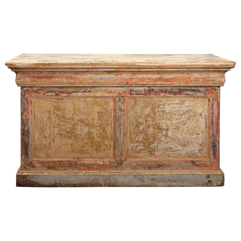 French Counter with Many Layers of Paint For Sale