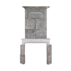 French Country Antique Fireplace Mantle in Limestone with Upper Mantle