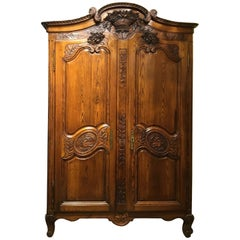 French Country Armoire/ Wardrobe 19th Century Louis XV Style