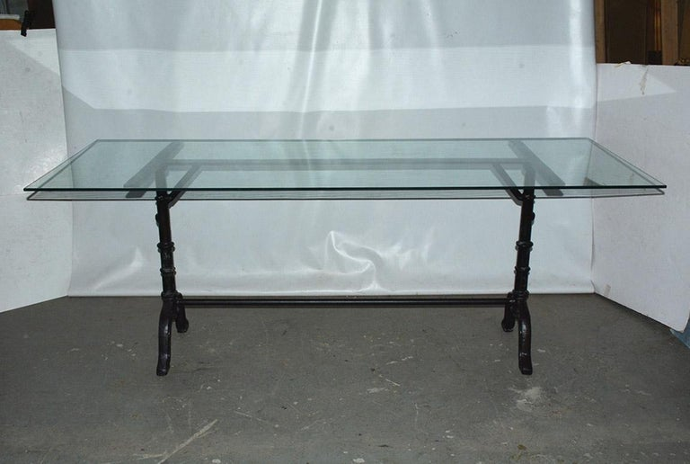 Stylish Versailles country iron metal base and glass top garden table is composed of bistro style legs braced at top and bottom. Table base can easily support stone, glass or wood. Base and top can be sold separately. Table can be used as a sofa