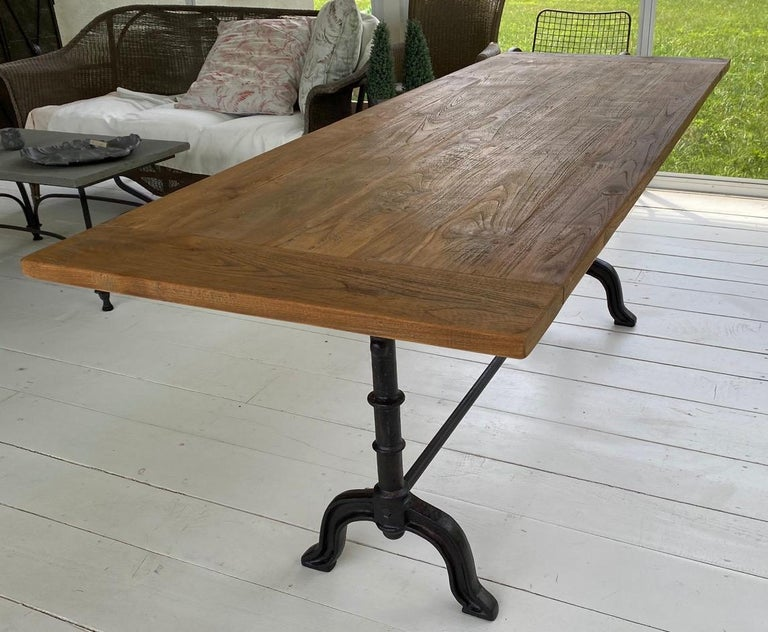 Teak French Country Cafe Bistro Dining Table For Sale