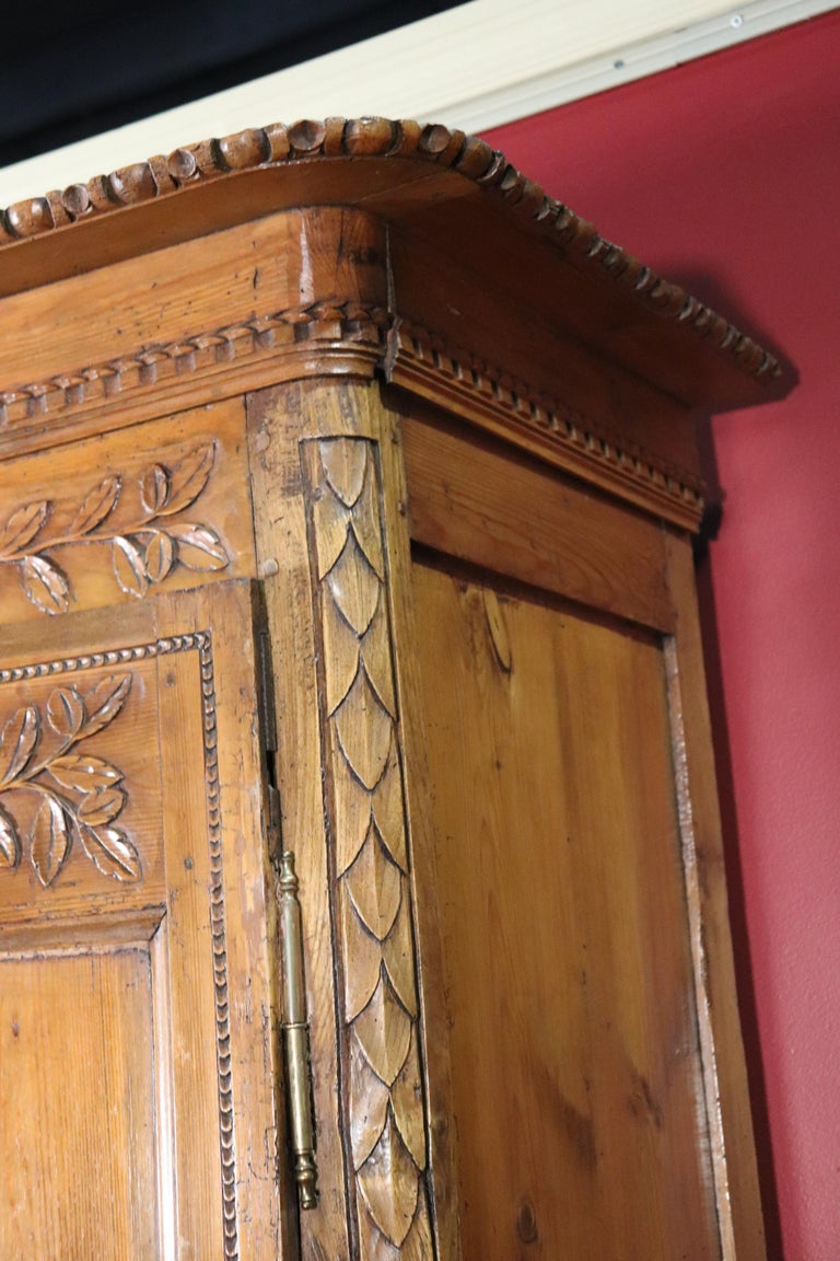French Country Carved Pine Wedding Armoire Wardrobe with Basket of Flowers For Sale 4