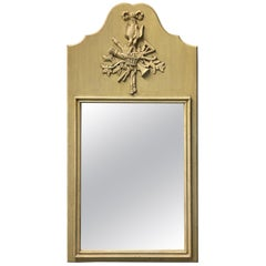 French Country Carved Wood Trumeau Mirror