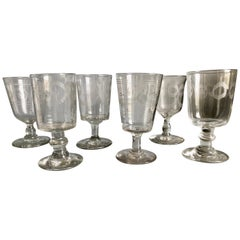 French Country Etched Wine Glasses, circa 1820