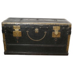 French Country House Chic Leather and Brass Bound Chest