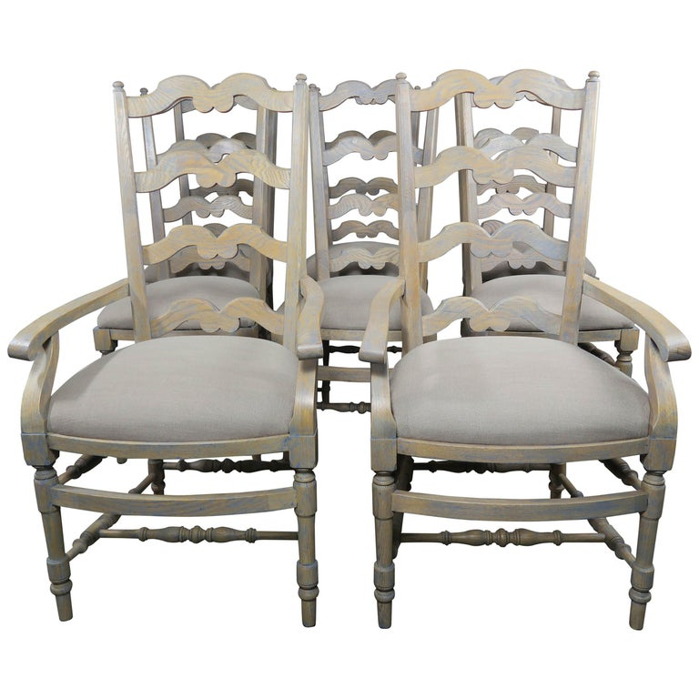 French Country Ladder Back Painted Dining Chairs Set Of 8 For Sale