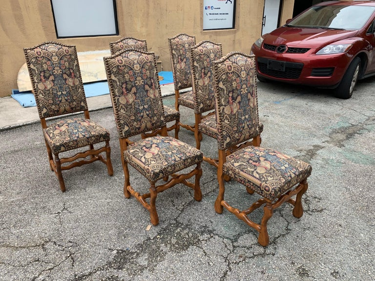 French Country Louis XIII Style Os De Mouton Walnut Dining Chairs, 1900s For Sale 5