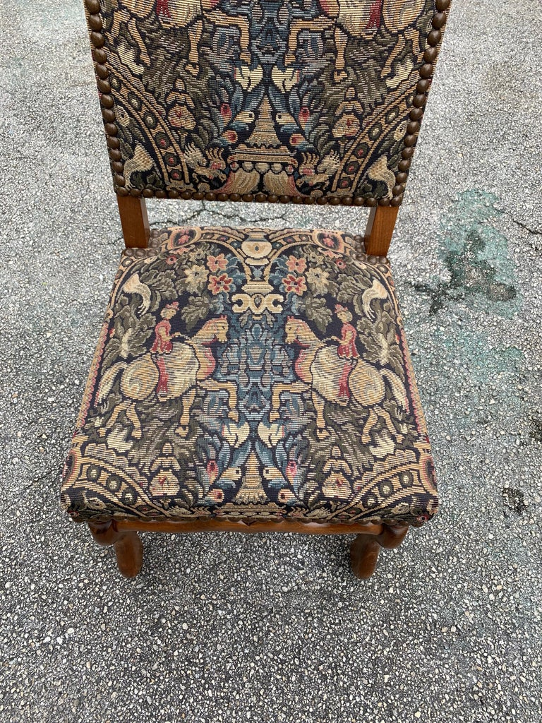 French Country Louis XIII Style Os De Mouton Walnut Dining Chairs, 1900s For Sale 8