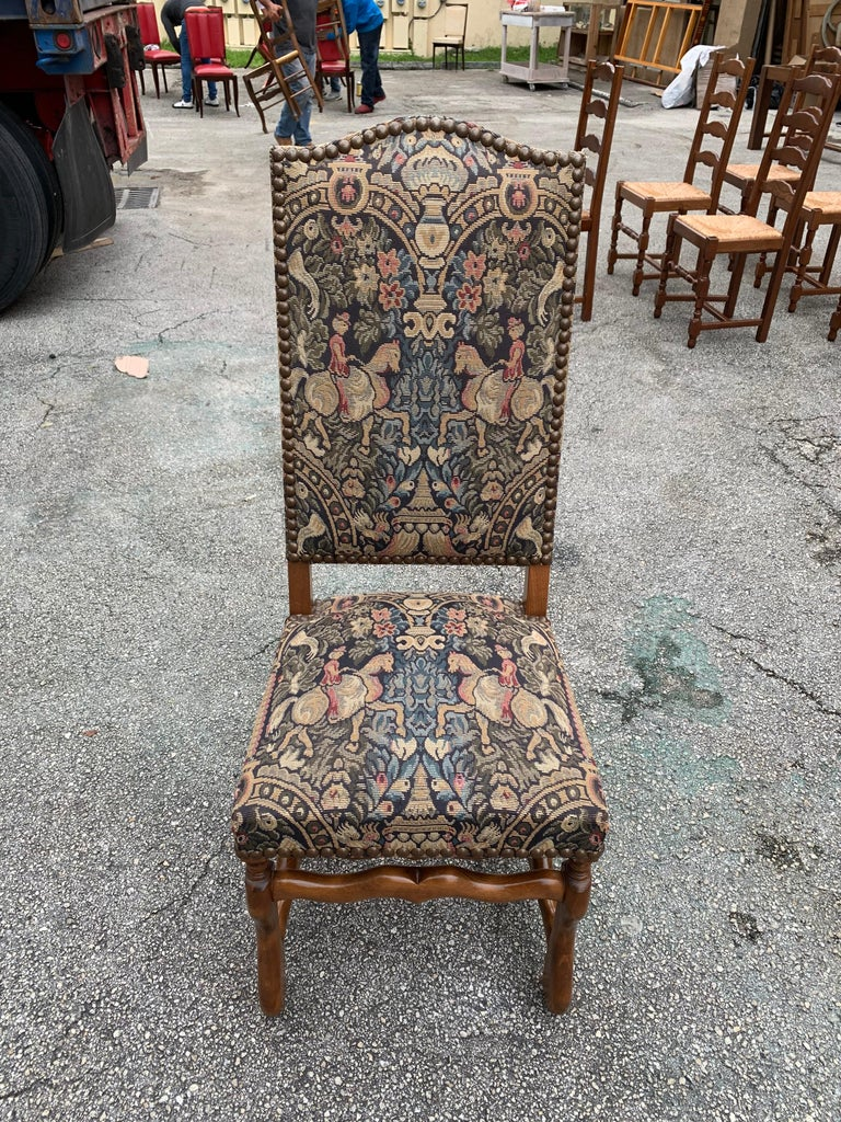 French Country Louis XIII Style Os De Mouton Walnut Dining Chairs, 1900s For Sale 12