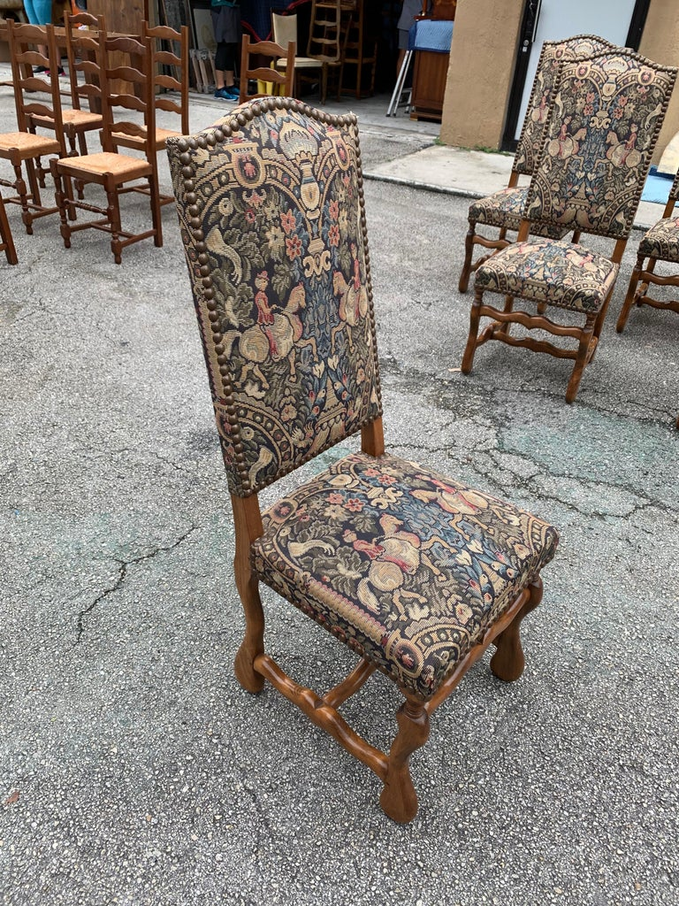 French Country Louis XIII Style Os De Mouton Walnut Dining Chairs, 1900s For Sale 13