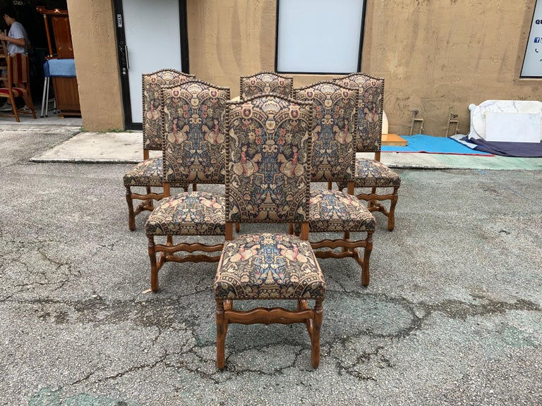 French Country Louis XIII Style Os De Mouton Walnut Dining Chairs, 1900s In Good Condition For Sale In Hialeah, FL
