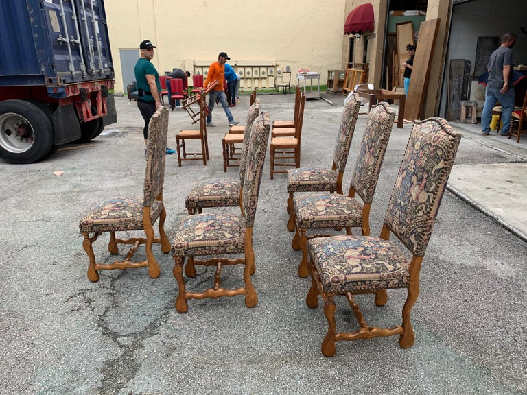 Early 20th Century French Country Louis XIII Style Os De Mouton Walnut Dining Chairs, 1900s For Sale