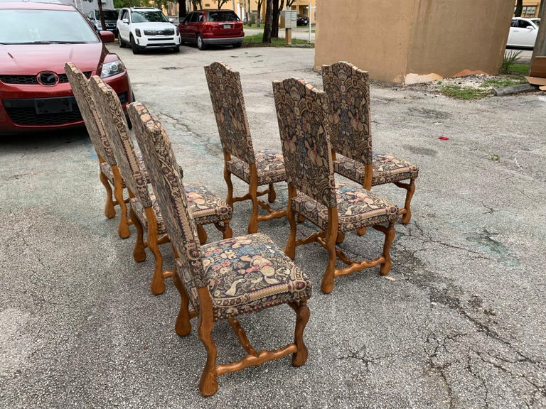 French Country Louis XIII Style Os De Mouton Walnut Dining Chairs, 1900s For Sale 2