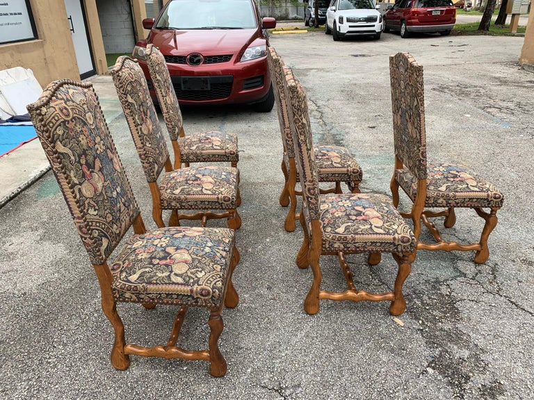 French Country Louis XIII Style Os De Mouton Walnut Dining Chairs, 1900s For Sale 4