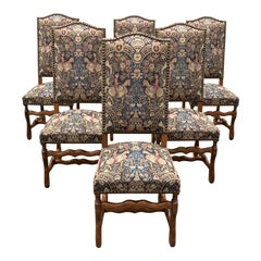 French Country Louis XIII Style Os De Mouton Walnut Dining Chairs, 1900s