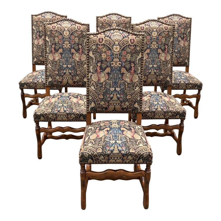 French Country Louis XIII Style Os De Mouton Walnut Dining Chairs, 1900s For Sale
