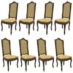 French Country Louis XV Provincial Style Dining Side Chairs, Set of Eight