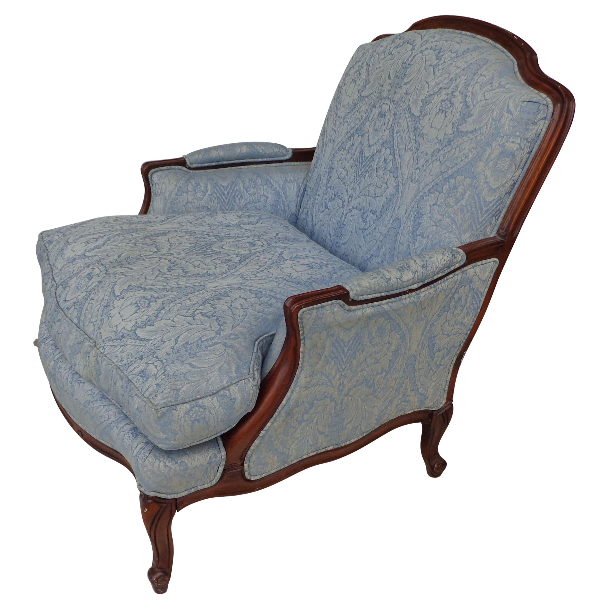 French Country Louis XV Style Bergere Lounge Chair