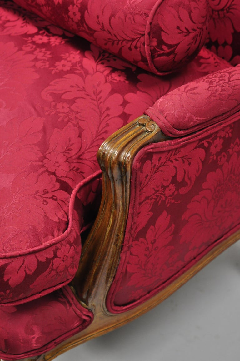 French Country Louis XV Style Carved Mahogany Burgundy Wingback Settee Sofa For Sale 5