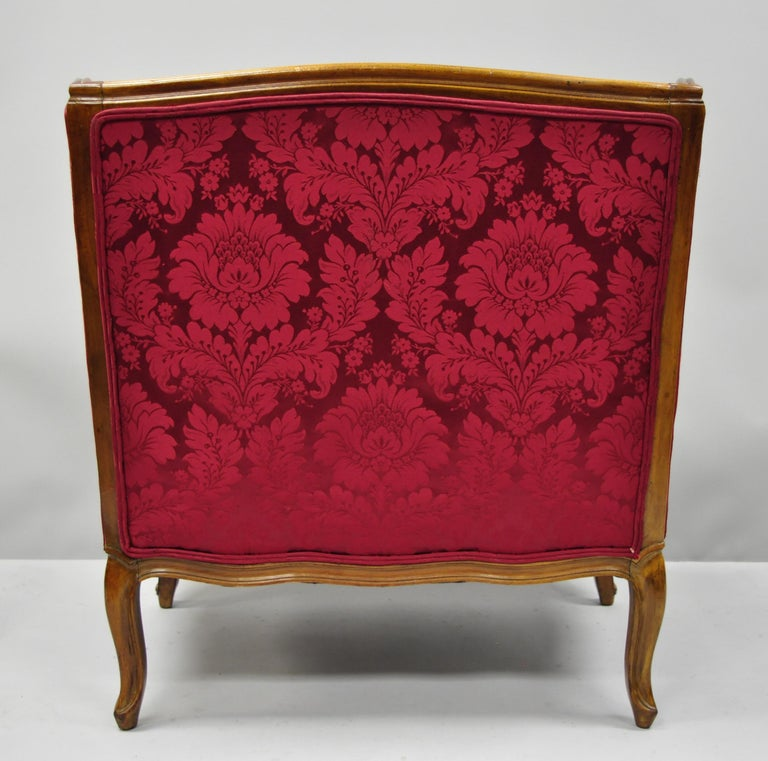 French Country Louis XV Style Carved Mahogany Burgundy Wingback Settee Sofa For Sale 7