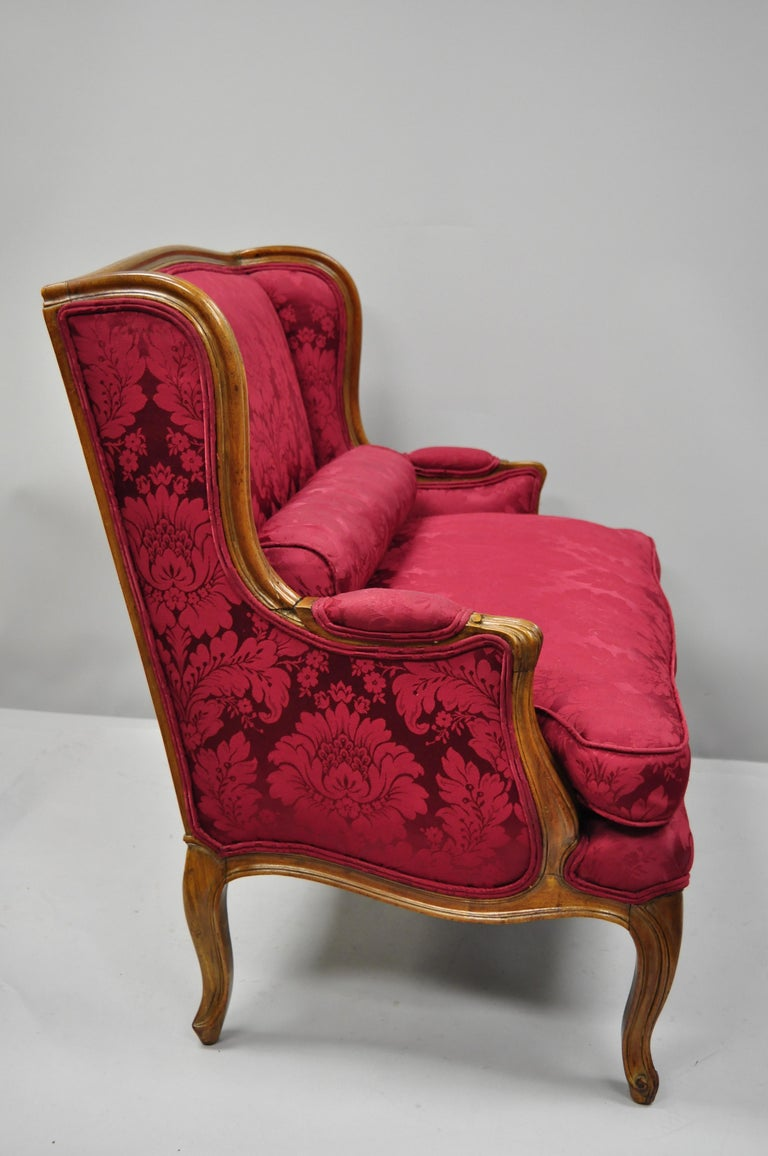 American French Country Louis XV Style Carved Mahogany Burgundy Wingback Settee Sofa For Sale