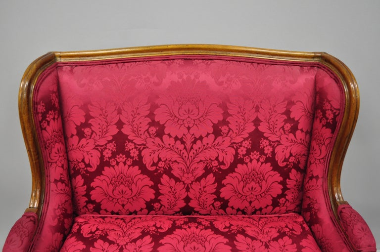 French Country Louis XV Style Carved Mahogany Burgundy Wingback Settee Sofa For Sale 2
