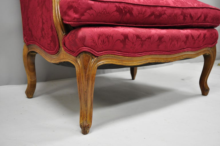 French Country Louis XV Style Carved Mahogany Burgundy Wingback Settee Sofa For Sale 3