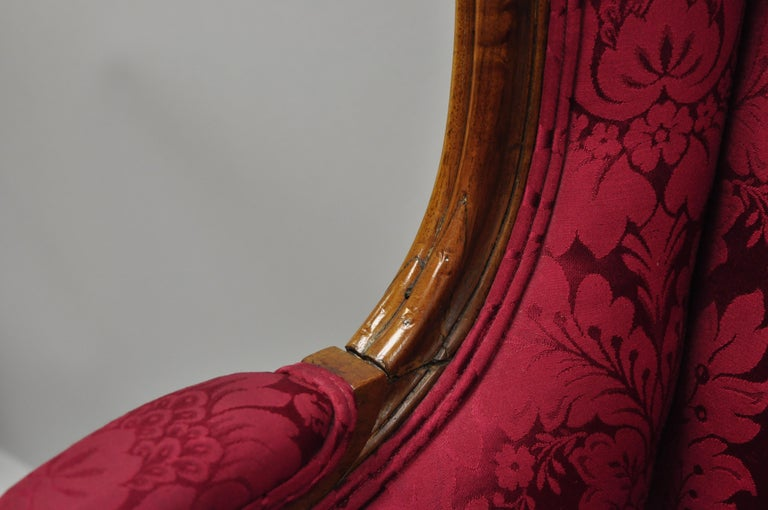 French Country Louis XV Style Carved Mahogany Burgundy Wingback Settee Sofa For Sale 4