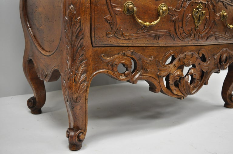 French Country Louis XV Style Carved Walnut Commode Bachelor Chest of Drawers For Sale 5